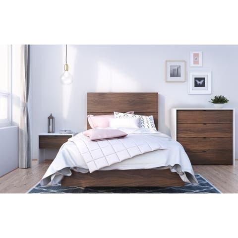 Nexera Identi-T 4 Piece Bedroom Set, White and Walnut