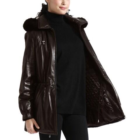 Women's Brown Lambskin Leather Anorak Parka Detachable Hood