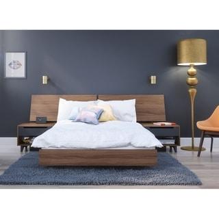 Nexera Alibi 4 Piece Bedroom Set, Walnut and Charcoal