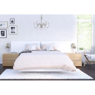 Nexera Esker 4 Piece Bedroom Set, Natural Maple and White