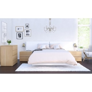 Nexera Esker 5 Piece Bedroom Set, Natural Maple and White
