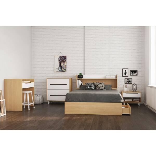 Nexera Nomad 5 Piece Bedroom Set White And Natural Maple
