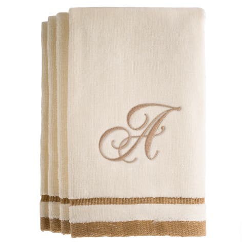 Monogrammed Ivory Fingertip Towels Set of 4