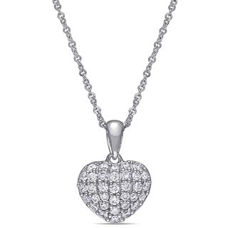 Miadora 14k White Gold 1 4ct TDW Diamond Clustered Heart Necklace