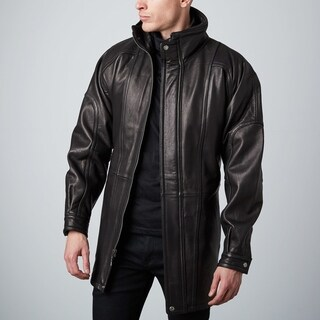 Men's Black 3/4-length Lambskin Leather Belted Half Coat
