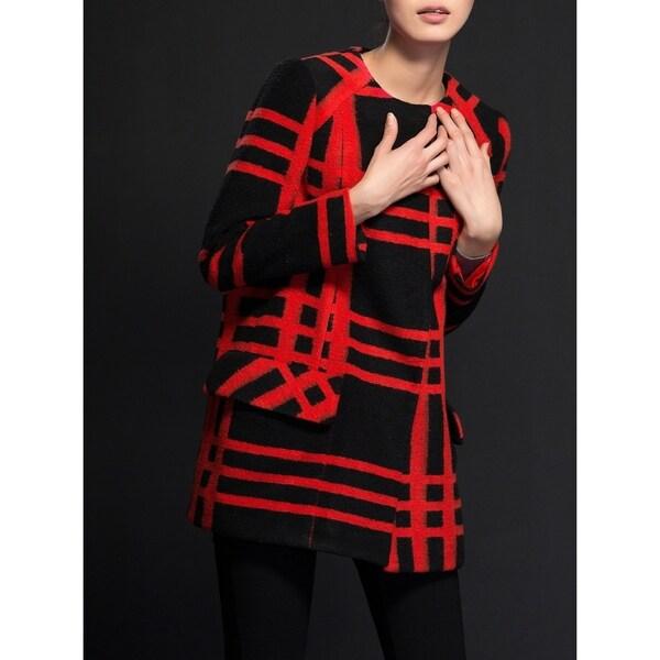 Women's Black & Red Grid Wool Blend Coat