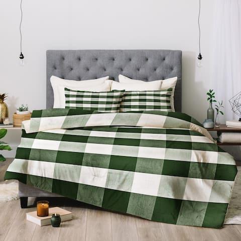 Deny Designs Green Plaid 3-Piece Comforter Set