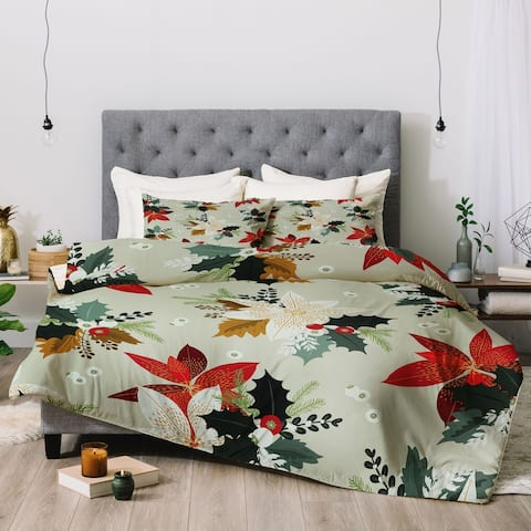 Deny Designs Holiday Floral 3-Piece Comforter Set