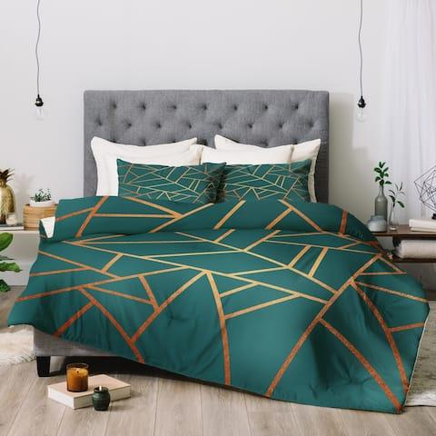 Deny Designs Teal Geometric 3-Piece Comforter Set
