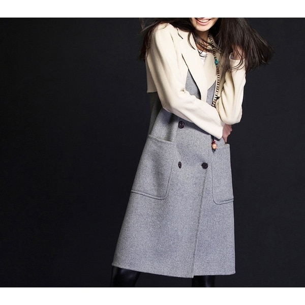Women's Light Gray Double Face Wool Trench Coat with Storm Flaps