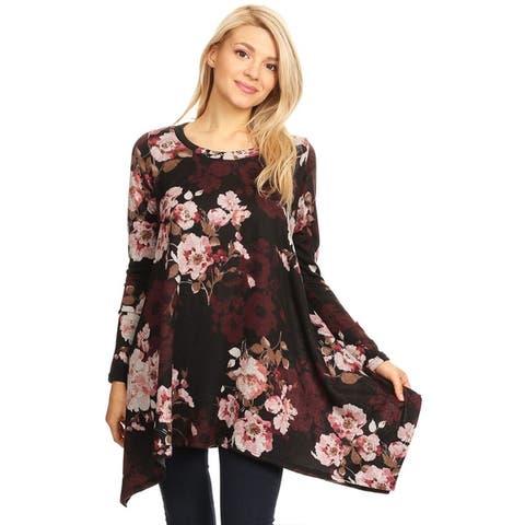 Women's Casual Lightweight Pattern Print Tunic Shirt