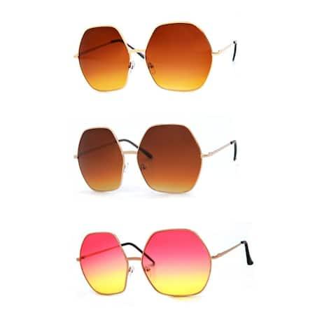 Women Oversized Hexa Fashion Sunglasses P4147