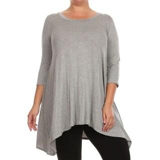 Women's Casual Plus Size Soft Knit Draped Handerkerchief Hem Tunic Tee