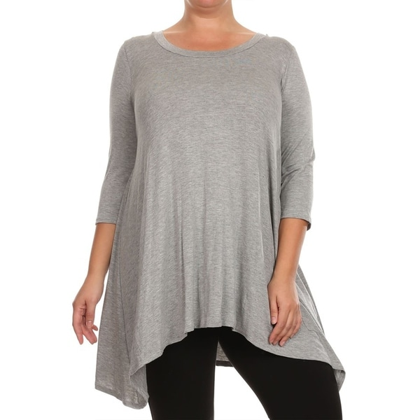 Women's Casual Plus Size Soft Knit Draped Handerkerchief Hem Tunic Tee