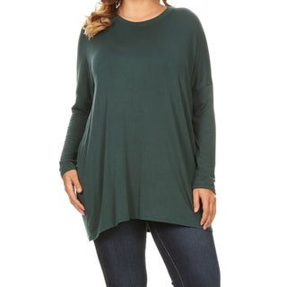 Women's Soft Plus Size Long Sleeve Scoop Neck Casual Basic Top Shirt