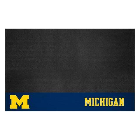 "FANMATS University of Michigan Vinyl Grill Mat 26""x42"" - Black"