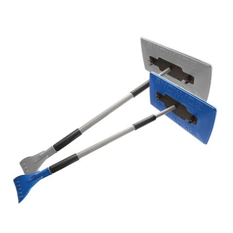 Snow Joe SJBLZD-JMB2-GRY 2-Pack Jumbo Telescoping Snow Broom + Ice Scraper, Blue/Gray
