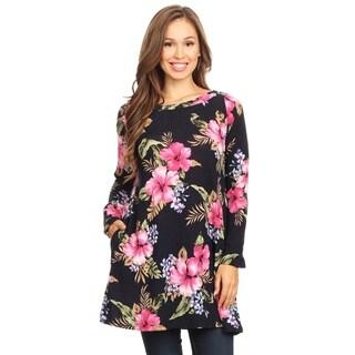 Women's Casual Lightweight Pattern Print Tunic Shirt with Pockets