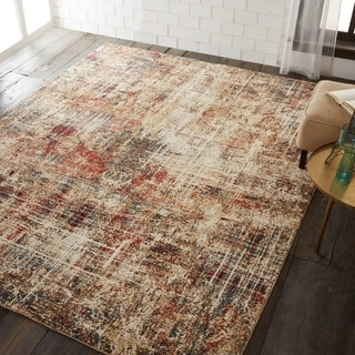 Porch & Den Delta Distressed Ivory / Crimson Abstract Area Rug