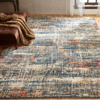 Porch & Den Hoffman Distressed Blue Abstract Area Rug