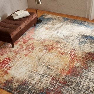 Porch & Den Hollis Distressed Sunset / Denim Abstract Area Rug