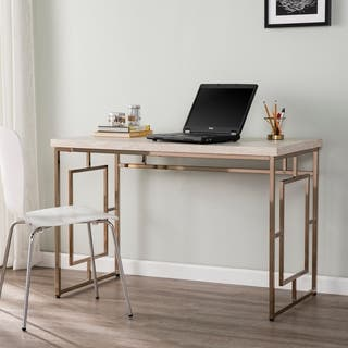 Silver Orchid Ham Faux Stone Writing Desk
