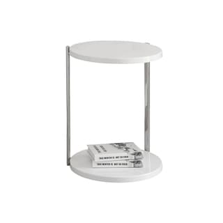 Accent Table - Glossy White / Chrome Metal