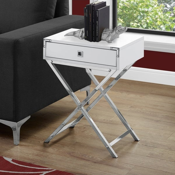 Porch & Den Veena Glossy White and Chrome Metal Accent Table