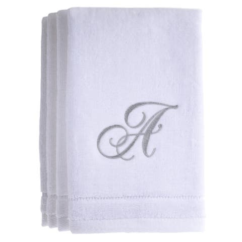 Monogrammed Initial White Fingertip Towels Set of 4
