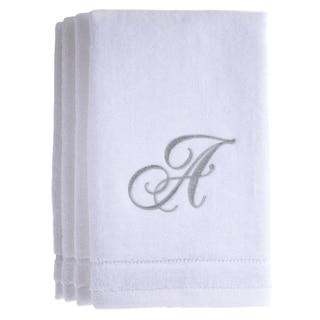 Monogrammed Initial White Fingertip Towels Set of 4