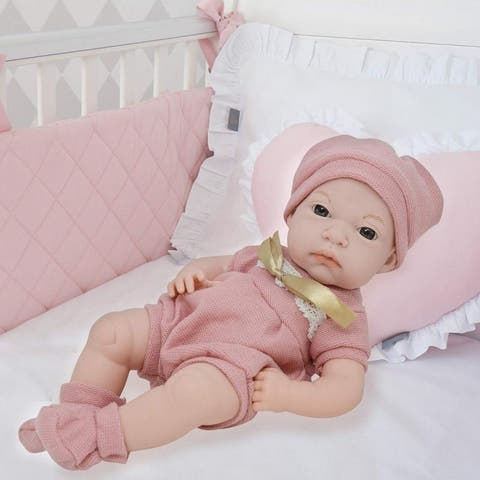 16 Inch Newborn Baby Doll Vinyl Body Realistic Features Bonus Clothing
