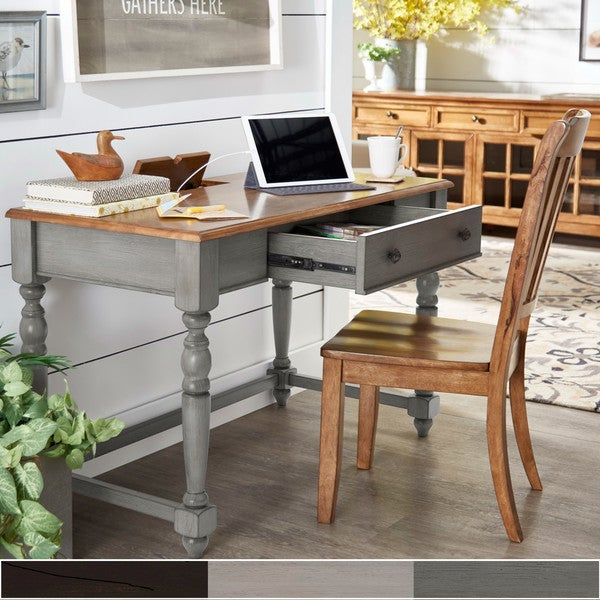 The Gray Barn Sunny Banks Antique 1-drawer Desk with Charging Station. Opens flyout.