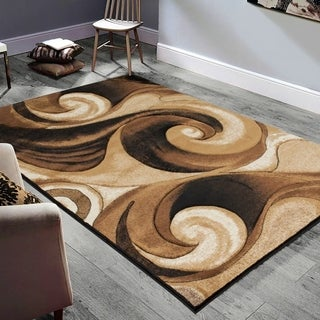 Allstar Rugs Hand-Carved Chocolate and Espresso Rectangular Accent Area Rug with Mocha Abstract Wavy Swirl Design