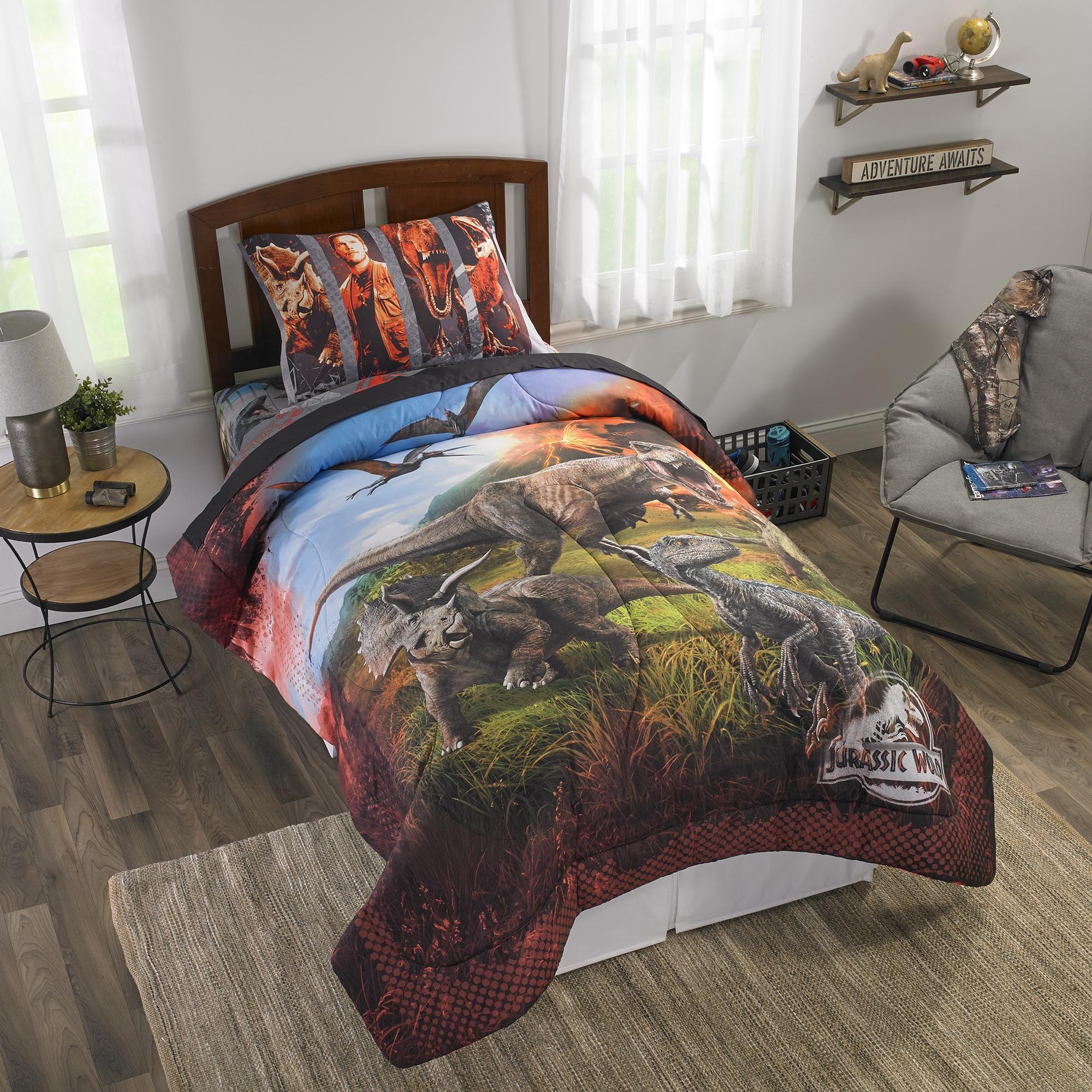 LO 2 Piece Kids Black Blue Green Jurassic Park Comforter Twin//Full Set Dinosaur