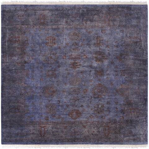Pasargad Home Vintage Overdyes Blue Hand-Knotted Wool Area Rug - 12' Square