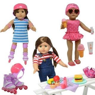 Doll Roller Skates -18 inch Doll Clothes - fits American Girl Dolls