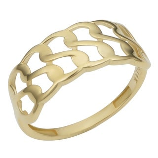 14k Yellow Gold Double Row Curb Ring (7.9 millimeter)
