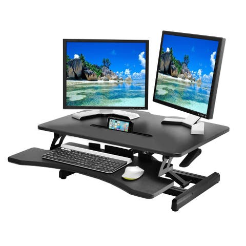 AIRLIFT 30 in. Compact Gas-Spring Height Adjustable Ergonomic Desk Riser with Dual Monitor and Keyboard Tray
