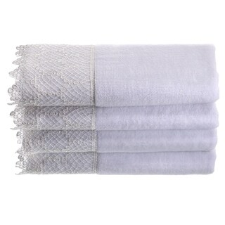 Creative Scents White Fingertip Towel Set with Gorgeous Trim, 4 Pack