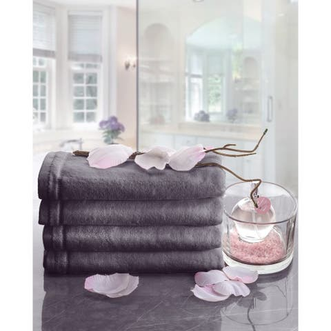 Gray Cotton Hand Towel Set with Embroidered Trim, 4 Pack