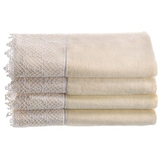 Creative Scents Ivory Fingertip Towel Set with Gorgeous Trim, 4 Pack