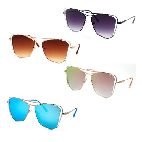 Classic Flat Lens Reflective Coating Mirror Fashion Sunglasses P4160