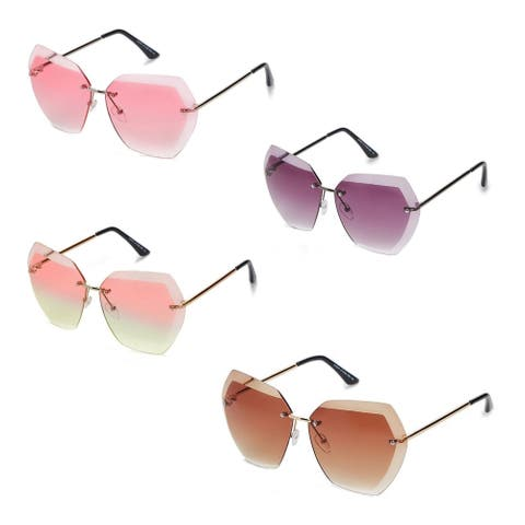 Women Oversized Rimless Diamond Cutting Lens Sunglasses P4150