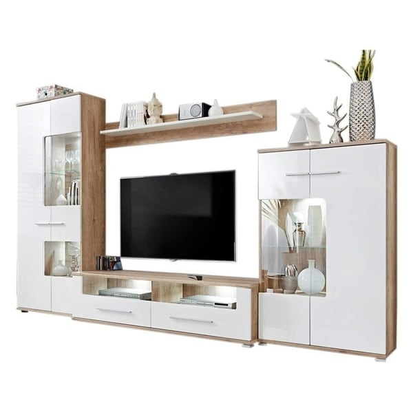 Caverly Modern Entertainment Center TV Stand Wall Unit with LED Lights, Oak and High Gloss White