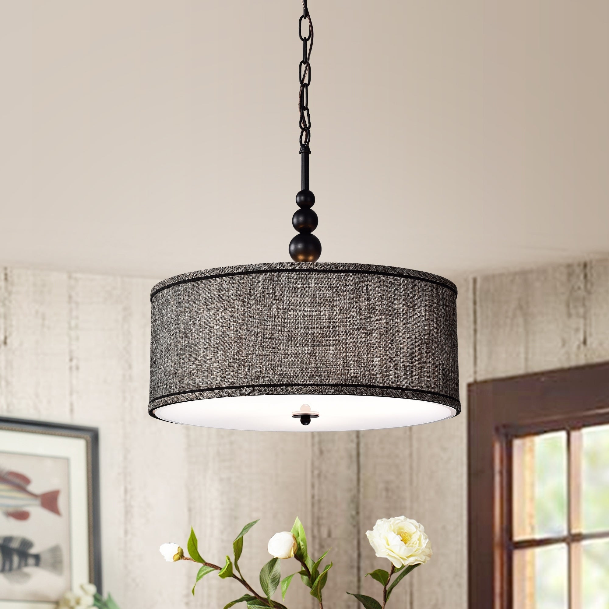 Image of: Shop Black Friday Deals On Penelope Woven Black 18 Inch Drum Pendant Lamp Overstock 25686453