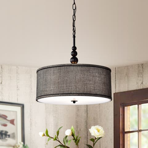 Penelope Woven Black 18-inch Drum Pendant Lamp