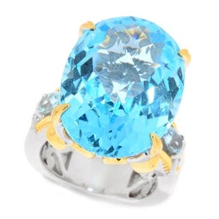 Michael Valitutti Palladium Silver Oval Checktop Cut Swiss Blue Topaz Cocktail Ring