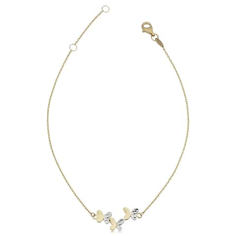 14k Two-Tone Gold Triple Butterfly Adjustable Length Anklet (adjusts to 9 or 10 inches)
