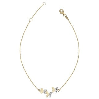14k Two-Tone Gold Triple Butterfly Adjustable Anklet (11.8 millimeter)