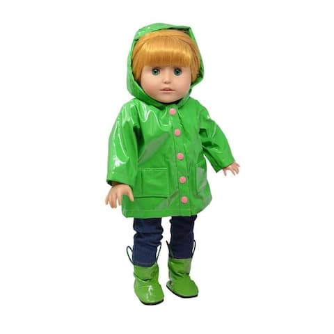 18 Inch Doll Clothes Green Raincoat and Doll Boots Set fit American Girl Doll